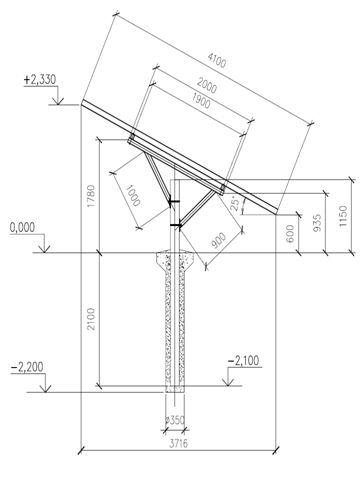 Конструктив опорной стойки солнечной панели