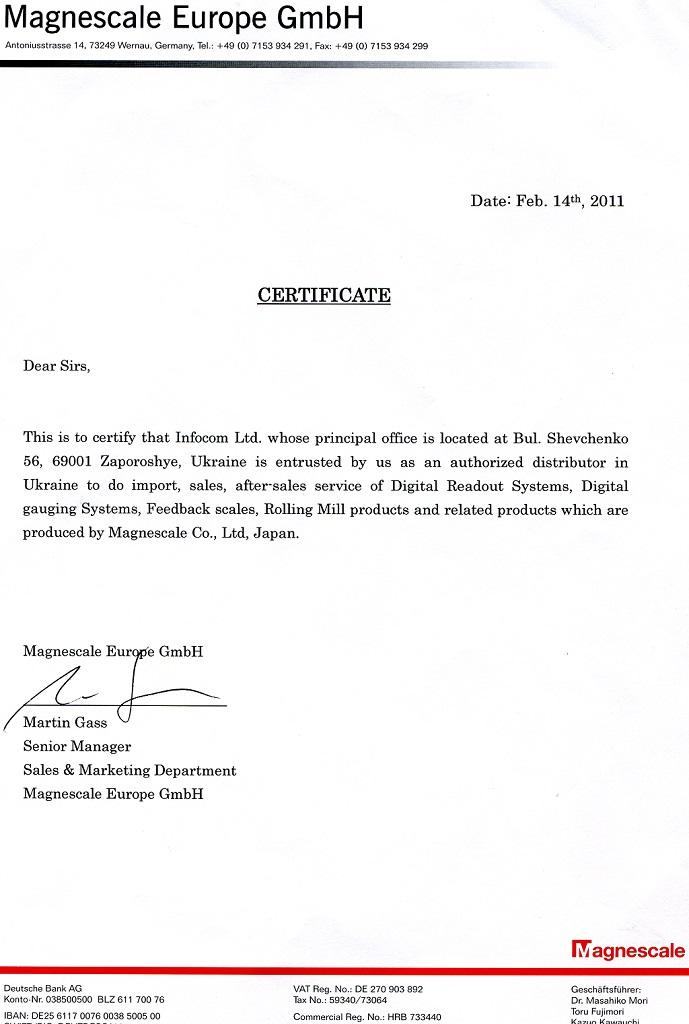 Certificate Magnescale