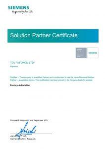 INFOCOM SIEMENS SOLUTION PARTNER FACTORY AUTOMATION 2021